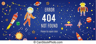 404 error banner with cosmos illustration - 404 error banner...