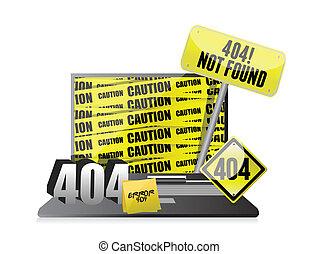404 error display on a laptop.
