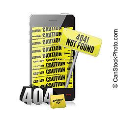 404 error display on a phone.