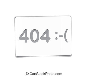 404 error on white paper sheet.