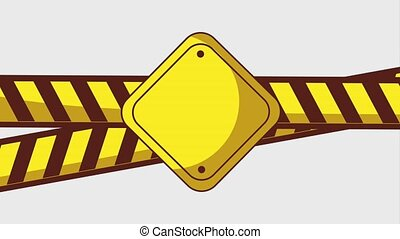 404 error page animation - caution tape and sign board alert...