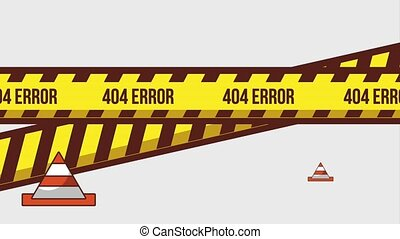 404 error page animation - caution tape and traffic cones...