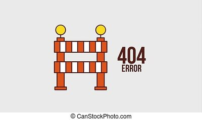 404 error page animation hd - 404 error page with barrier...