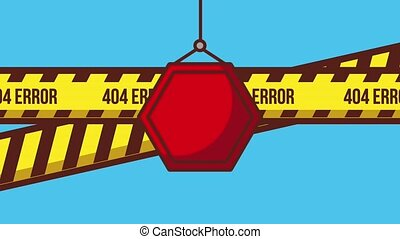 404 error page animation - red sign board hanging and...
