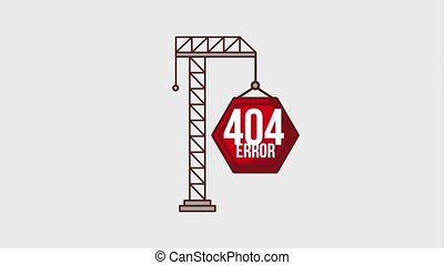 404 error page animation - sign warning hanging construction...