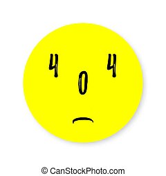 404 error page. Upset yellow smiley. Vector illustration for web