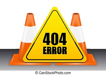 404 error sign with traffic cone vector
