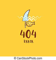 404 error with gold fish pretending to be a shark, vector ...