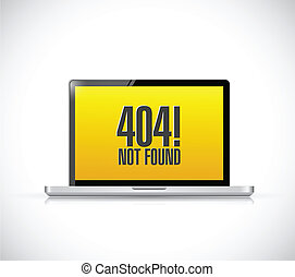 404 not found message on a computer. illustration