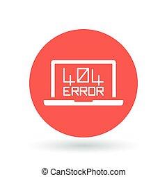 404 page not found error icon. Internet error sign. Laptop browser error symbol. Vector illustration.