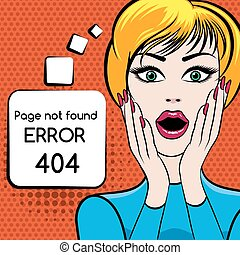 404 Page not found vector illustration. Web internet problem, woman with open mouth. Vector illustration