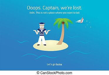 404, tela, page., marinero, en, deserte isla, theme.