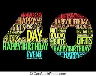 40th, aniversário, palavra, nuvem, feliz