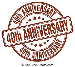 40th anniversary brown grunge stamp