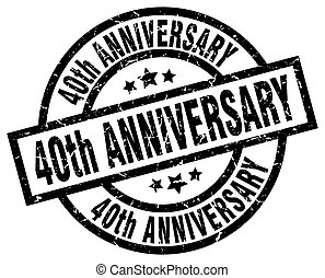 40th anniversary round grunge black stamp