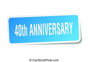40th anniversary square sticker on white