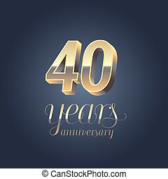 40th anniversary vector icon, logo. Gold color graphic design element for 40 years anniversary birthday banner