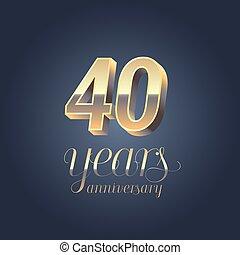 40th anniversary vector icon, logo