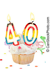 40th birthday - fortieth birthday cupcake with white ...