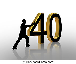 40th, jarig, 3d, uitnodiging
