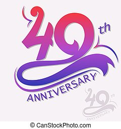 40th Years Anniversary Design, Template celebration sign. Vector