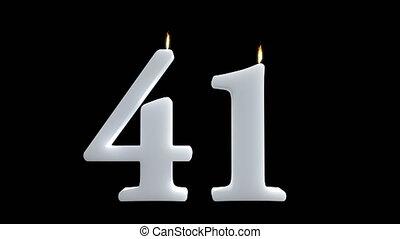 41, cire, anniversaire, noir, bougies