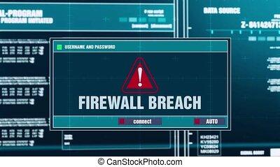 41. Firewall Breach Warning Notification on Digital Security Alert on Screen.