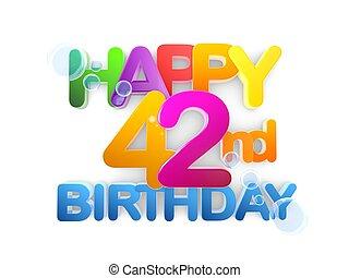 42, születésnap, cím, boldog, fény