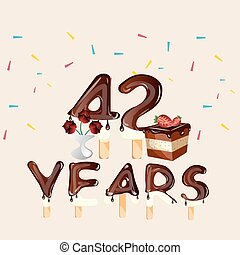 42 years Happy Birthday card