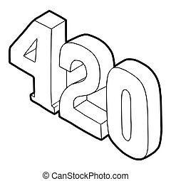 420 cannabis smoking time icon in outline style on a white background vector illustration
