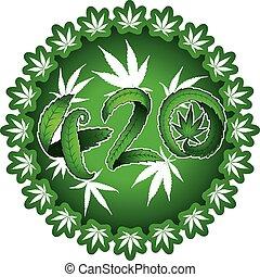 420, disegno, marijuana, simbolico, testo