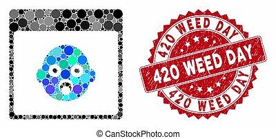 420, erbaccia, calendario, testa, pagina, sigillo, mosaico, ...