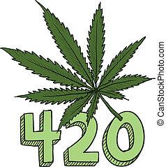 420, esboço, marijuana