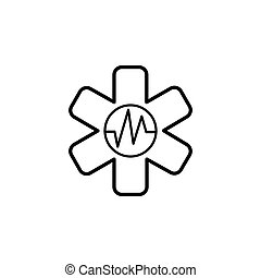 medical (ambulance) line icon black on white background