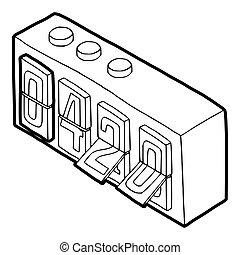 420 on analog flip clock icon, outline style