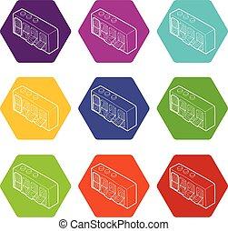 420 on analog flip clock icons set 9 vector