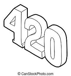 420, tempo, canapa, fumo, icona