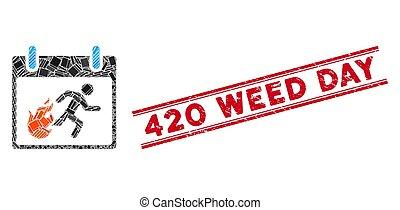 420, uomo, erbaccia, mosaico, watermark, giorno, grunge, ...