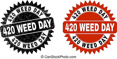 Black rosette 420 WEED DAY stamp. Flat vector scratched stamp with 420 WEED DAY phrase inside sharp star shape, and original clean template. Watermark with scratched texture.