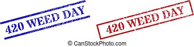 Grunge 420 WEED DAY rubber stamps in red and blue colors. Stamps have draft style. Vector rubber imitations with 420 WEED DAY phrase inside rectangle frame, or parallel lines.