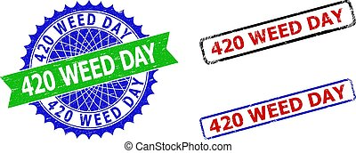 Bicolor 420 WEED DAY badges. Green and blue 420 WEED DAY seal with sharp rosette and ribbon design elements. Rounded rough rectangle framed 420 WEED DAY badges in red, blue, black colors,