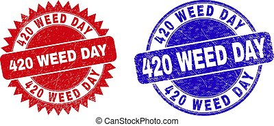 Round and rosette 420 WEED DAY seal stamps. Flat vector grunge watermarks with 420 WEED DAY tag inside round and sharp rosette form, in red and blue colors. Watermarks with unclean texture,