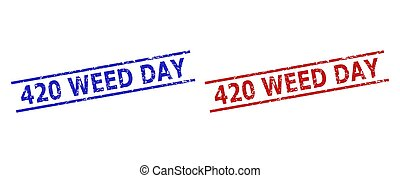 Blue and red 420 WEED DAY stamp seals on a white background. Flat vector scratched seals with 420 WEED DAY text between 2 parallel lines. Watermarks with scratched style.