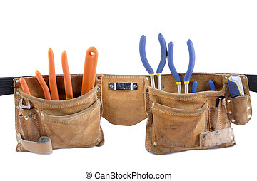 429 tool belt - Image of tool belt isolated on white...