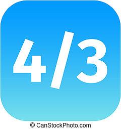 4:3, proportion, moniteur, tv, widescreen, symbole., signe, lcd, aspect, icon.