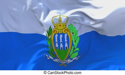 43. San Marino Flag Waving in Wind Continuous Seamless Loop Background.