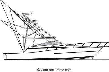 43', viking, pesca del deporte, barco