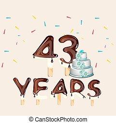 43 Years Happy Birthday card.
