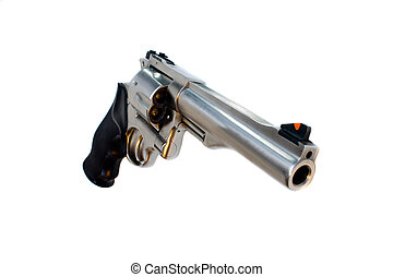 44 magnum revolver isolated, wide angle view
