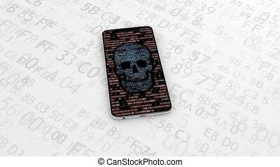 44., montre, danger, virus., espion, theft., hacher, infected, spyware, internet, hacker., identité, téléphone